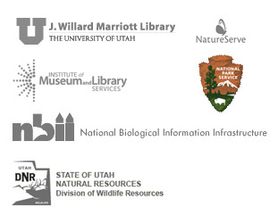 sponsor logos: University of Utah, Nature Serve, Institute of Museum and Library Services, National Biological Information Infrastructure, and State of Utah Natural Resources